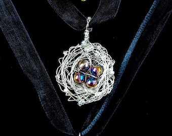 Wire Wrapped Bird Nests Necklace Crystal Necklace Silver Gold Pink Free Shipping Jewelry