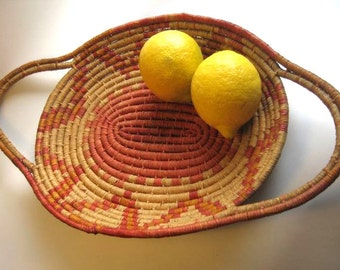 "vintage ""platter"" waxed coil basket with handles - orange"