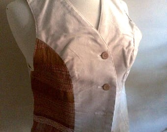 pink rust weave bone corduroy vest - size small