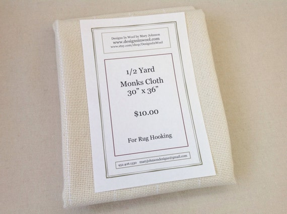 "Half Yard Monks Cloth for Rug Hooking, 30"" x 36"",  Raw Edges, J686, Rug Hooking Backing Fabric, Foundation Fabric"