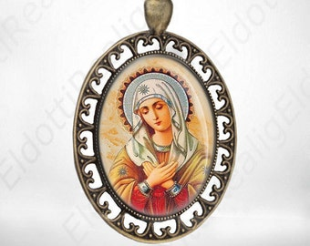 Blessed Virgin Mary Catholic Medal, Religious Jewelry Pendant Vintage Bronze - FREE SHIPPING