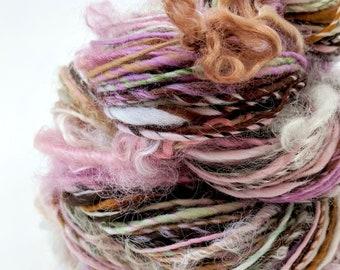 Textured Yarn, Handspun Yarn, Art Yarn, Handspun Art Yarn, Weaving Yarn, Crochet, Knitting, Pink Brown Green, Worsted Weight Yarn - PETAL