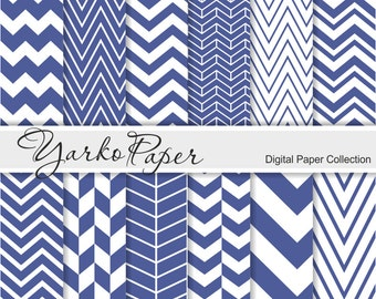 Navy Blue Chevron Digital Paper Pack, Chevron Scrapbook Paper, Digital Background, 12 Sheets, Personal And Commercial Use - Instant Download