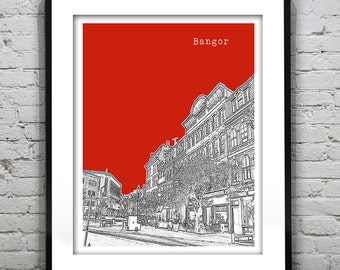 Bangor Maine Skyline Poster Art Print Version 2