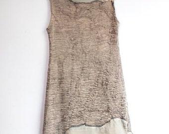 dress in metallic organza and silk