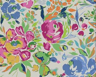 KNIT Fabric: Art Gallery La Floraison Lit Cotton Lycra Knit Fabric. Sold by the 1/2 Yard