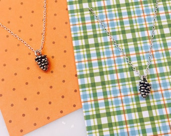 Delicate Tiny Pinecone Silver Necklace