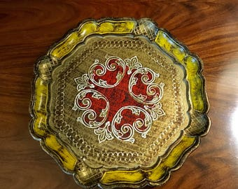 Vintage Round Gold Florentine Serving Tray, Drinks Tray, Bar Tray