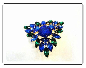Green & Blue Brooch - Rhinestone Triangle Brooch  Pin-1610a-030513010