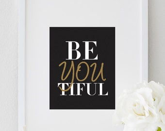 Beyoutiful Typography Print, Top Selling Items, Beyoutiful Inspirational Print, Motivational Bedroom Wall Decor, Girls Bedroom Motivational