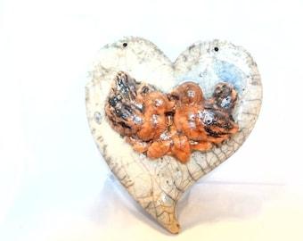 Raku pottery heart with birds