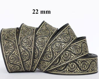 to order! 10 m Ribbon embroidered Jacquard * medieval * 22 mm wide