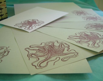 plum octopus letter set gray stationery with envelope