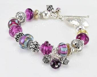 Lampwork Bracelet - Purple Lampwork Bali Sterling Silver Bead Bracelet - KTBL