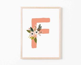 Coral Bloom F Nursery Art. Nursery Wall Art. Nursery Prints. Nursery Decor. Girl Wall Art. Personalized Wall Art. Monogram Art. Floral Art.