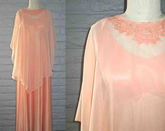 Vintage 1970's maxi dress PEACH DREAM sleeveless with sheer cape - M