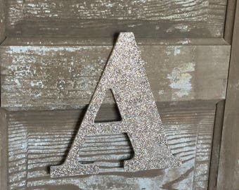 """9"""" Decorative Champagne Gold Glitter Wall Letters, Wedding Decoration, Christmas Holiday Decor, Girls Bedroom Decor"""
