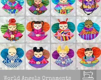 World Angels Christmas Ornament Pattern DIY Ornaments Tutorial Fabric Christmas Ornament Pattern, Kaffe Fassett Fabric, Embroidered Ornament