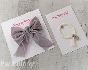 Adorable Velvet Gray Hair Bows, girl hair bows,baby hair bow, Packininny hair bow, Big hair bows, With Bead Charm Bracelet, 6 Colors to Pick