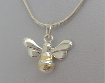 "925 Sterling Silver Bumble Bee Drop Necklace on a 16"" or 18"" Snake Chain"