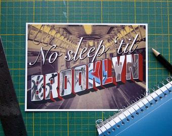 Song Lyric Typography Print, No Sleep Til Brooklyn Wall Art, Beastie Boys Dorm Room Decoration, New York Subway Typographic Quote Poster