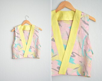 SALE // Size XS/S // ABSTRACT Vest // Pink & Yellow - Print - Open Vest - Handmade Vintage - '80s Style.