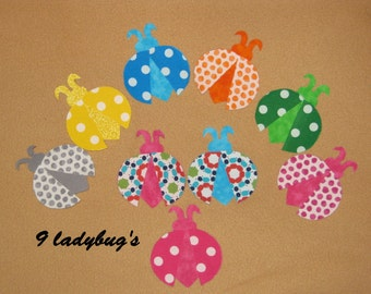 """Applique Fantasy Handmade Ladybug - 2 3/4 x 2 1/2"""" - set of 9 - scrapbooking, infant clothing, adult clothing, quilts, pillows,"""