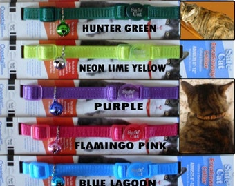 Personalized Embroidered CAT SAFETY Collars  - Coastal Safe Cat Brand - 11 Colors To Choose From