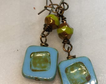 Turquoise and Chartreuse Czech Glass Earrings   Minimalist Square Earrings   Product id: TQCSQ217
