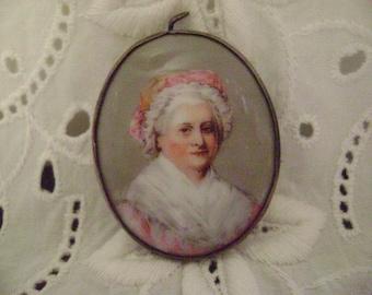 Vintage Brooch, Hand Painted, Porcelain Portrait Brooch Pendant, Martha Washington