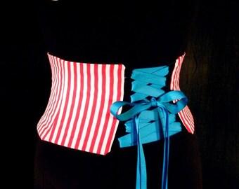 Striped Corset / Circus Waist Cincher Costume Belt / Red and White Pirate Sash / Retro Waspie / Halloween / Plus Sizes / Steel Boning Option