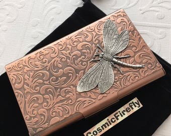 Copper Card Case Silver Dragonfly Steampunk Card Case Business Card Holder Gothic Victorian Card Wallet Handcrafted Dragonfly Card Case