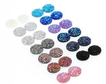 26pcs 12mm Faux Druzy Sampler, Faux Crystal Clusters Cabochons SMALL Nuggets FLAT Resin Gem Sampler