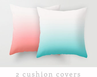 2 teal and coral red cushion covers teal and red throw pillow teal pillow teal throw pillow teal cushion coral red cushion coral and teal