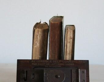 vintage antique advertising door lock / boye needle co salesman sample