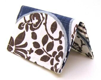 Mini Wallet / Card Holder / Business Card Holder / Card Case / Gift Card Holder/ Small Wallet - Indigo & Brown Aiko