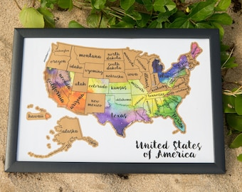 Memorial Day Sale: Scratch Your Travels USA Map (United States of America US Watercolor Art) scratch off where you've been
