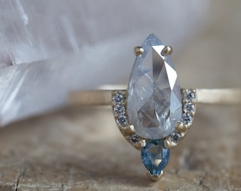One of a Kind Silvery-Blue Rose Cut Diamond + Montana Sapphire Engagement Ring