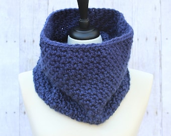 Navy Blue Scarf, Blue Neckwarmer, Blue Infinity Scarf, Blue Loop Scarf, Blue Winter Scarf, Blue Crochet Scarf, Blue Chunky Scarf, THE AMELIA