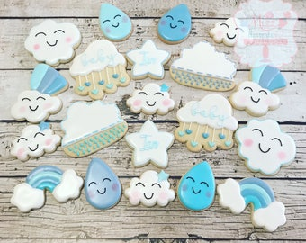 Sprinkle Rain Baby Shower Cookies