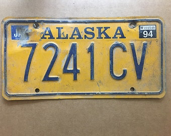 Vintage Alaska License Plate 1994 | Rusty | Man Cave Decor | Old Collectible | For Him | Garage