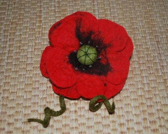 Handmade felted wool flower brooch/Corsage!POPPY!
