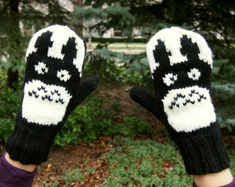 My Neighbor Totoro Knit Mittens Black and White Knitted Totoro Mittens - Womens or Men's Sizes Black & White Totoro Inspired Hand Knit Mitts
