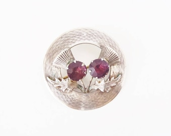 Scottish Thistle Brooch Sterling Silver & Faceted Amethyst Glass 1950s Vintage Made in UK Ward Bros. Signed W.Bs Double Thistle Circle Pin