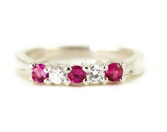 Ruby Anniversary Ring - Sterling Five Stone Band - July Birthstone Ring - Choose Your Stone