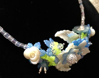 Handmade - Unique - Blue Lucite Floral Necklace.  Perfect for prom or bridal party...or any occasion!