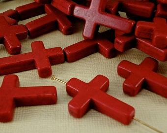 2 Charm Cross Beads 22mm x 30mm Natural Howlite Gemstone Red Large Cross Beads Charms Natural Beads Large  Ask a Question