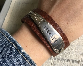 Journey Stamped Spoon Handle Leather Cuff