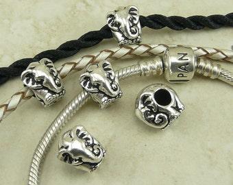 4 TierraCast Elephant Animal Euro Beads > Sacred Animal Jungle Book - Fine Silver Plated Lead Free Pewter - I ship Internationally 5763