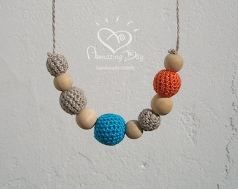 Natural Bright Teether, Grey Blue Orange Necklace, Crochet Bead Nursing Necklace, Organic Linen Eco friendly Waldorf Jewelry for Mommy 2018
